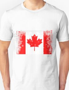 Canadian flag with snowflakes gruge T-Shirt