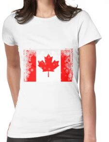 Canadian flag with snowflakes gruge Womens Fitted T-Shirt