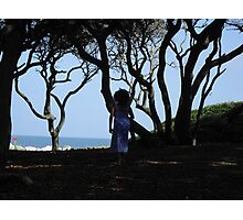 Precious Girl on a Fall Beach Day Photographic Print