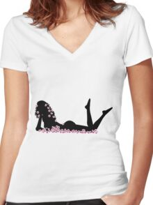 Naked sexy woman in the middle of pink flowers Women's Fitted V-Neck T-Shirt