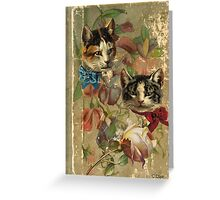 Victorian Cats Floral Rose Antique Book Greeting Card