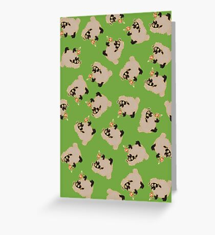 Cartoon Silly blackface Sheep eating flowers Greeting Card