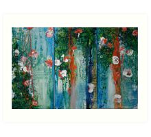 Waterlillies and Willows Triptych Art Print