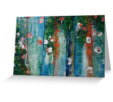 Waterlillies and Willows Triptych Greeting Card