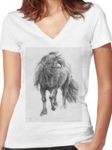 Black Horse sumi-e original watercolor painting Women's Fitted V-Neck T-Shirt