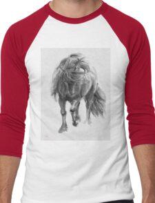 Black Horse sumi-e original watercolor painting Men's Baseball ¾ T-Shirt