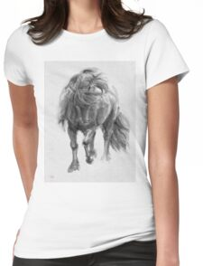 Black Horse sumi-e original watercolor painting Womens Fitted T-Shirt