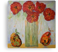 Red Flowers with Pears Canvas Print