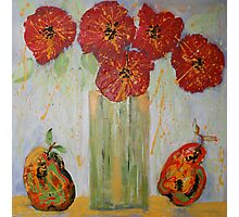 Red Flowers with Pears Photographic Print