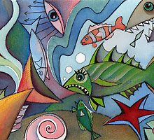 Fish abstract II by Karin Zeller