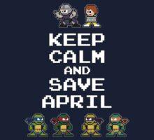 8-Bit TMNT- Keep Calm and Save April Kids Tee