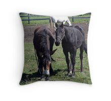 Horse and Mule Throw Pillow