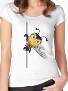 Bee T Shirt - With err Popping out honey bee Women's Fitted Scoop T-Shirt