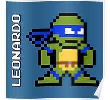 8-Bit TMNT- Leonardo Poster