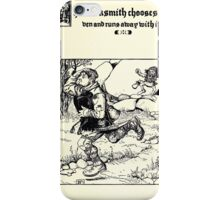 The Wonder Clock Howard Pyle 1915 0333 The Blacksmith Chooses Raven and Runs Away With It iPhone Case/Skin