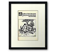 The Wonder Clock Howard Pyle 1915 0133 THe Prince Finds Three Giants Sleeping Under Tree of Life Framed Print