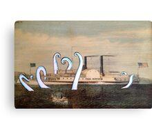 Isaac Newton Octopus and Ship Canvas Print