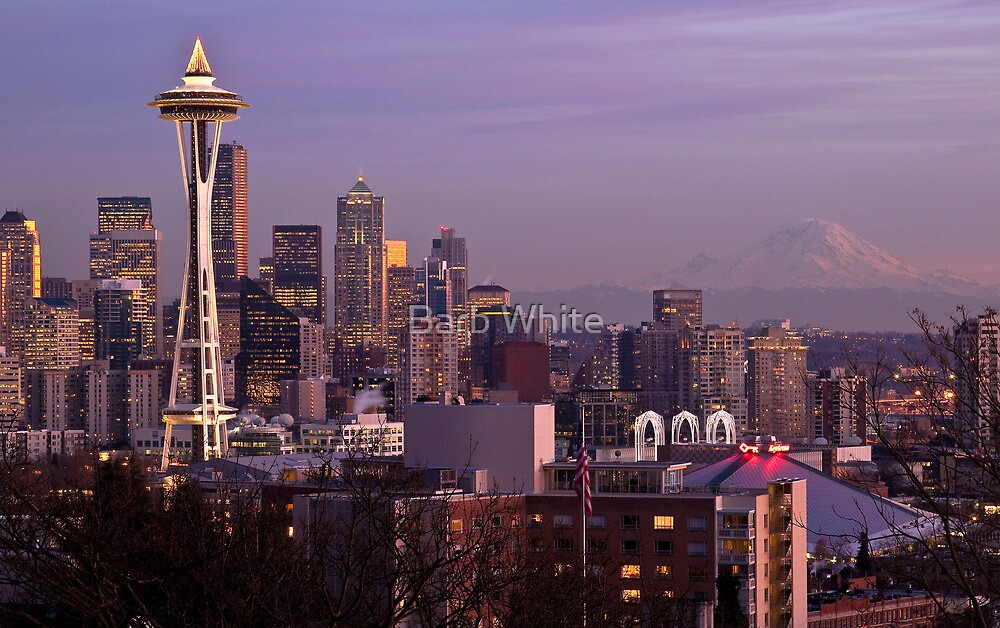 Downtown Seattle at Night - Christmas time (with Mt. Rainier in the distance) by Barb White