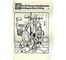 The Wonder Clock Howard Pyle 1915 0165 The Old Woman Smashes Pots Boot's Bidding Poster