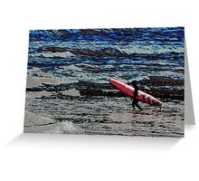 Heading for the Waves, surfer manipulated photo Greeting Card