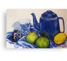 Blue Teapot and Fruit Canvas Print