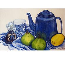 Blue Teapot and Fruit Photographic Print