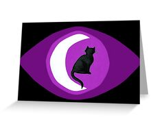 The Cat in the Moon (black) Greeting Card