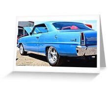 Blue Chevy Nova Hot Rod Greeting Card