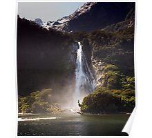 Bowen Falls, Milford Sound Poster