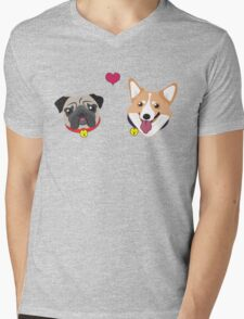 Doggy Love Mens V-Neck T-Shirt
