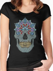 Stained Glass Skull Women's Fitted Scoop T-Shirt