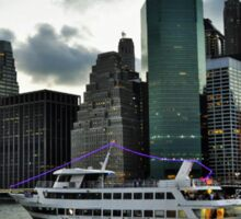 City lights & cruising the East Side River - NYC Sticker