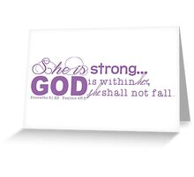She is Strong (purple) Greeting Card