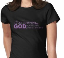 She is Strong (purple) Womens Fitted T-Shirt