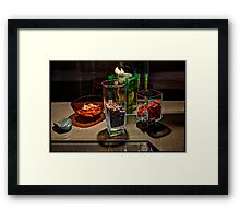 Glasses, grains, gravel Framed Print