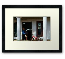 Waiting at the Barbers, Vinales, Cuba Framed Print