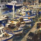 End of The Day Fishing Boats Genoa by Randy Sprout