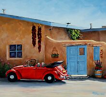 """""""Cool Ride"""" -Classic convertible red VW beetle ready for a ride by Mary Giacomini"""