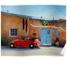 """""""Cool Ride"""" -Classic convertible red VW beetle ready for a ride Poster"""