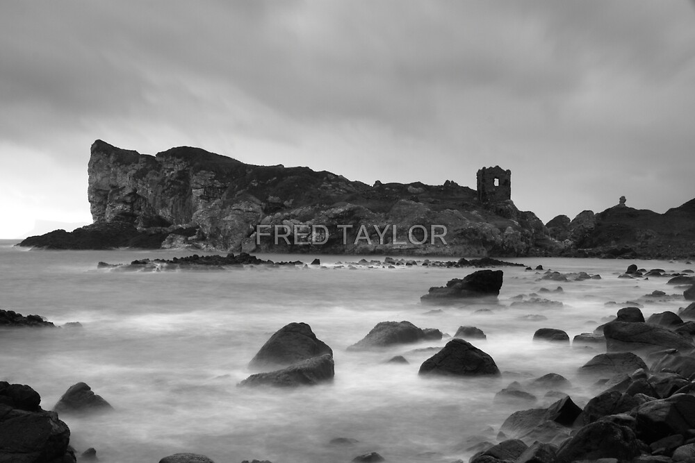 Black & white of Kinbane head, N.Ireland. by Fred Taylor
