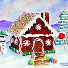 """Lisa's Gingerbread House""-a watercolor painting from a gingerbread house she made by Mary Giacomini"