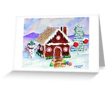 """Lisa's Gingerbread House""-a watercolor painting from a gingerbread house she made Greeting Card"