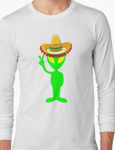 Mexican Alien Sombrero Long Sleeve T-Shirt