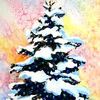 """Christmas Tree""  -watercolor painting of a snowy lit pine tree  by Mary Giacomini"