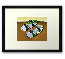grey and green sandals Framed Print
