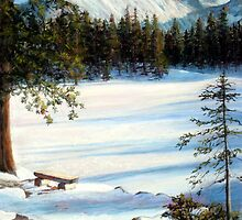 """""""Nymph Lake"""" pastel painting of Longs Peak in Colorado by Mary Giacomini"""