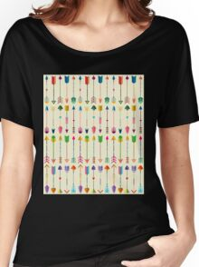 Colorful Tribal Arrows Pattern with Yellow Background Women's Relaxed Fit T-Shirt