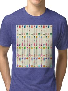 Colorful Tribal Arrows Pattern with Yellow Background Tri-blend T-Shirt