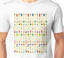 Colorful Tribal Arrows Pattern with Yellow Background Unisex T-Shirt
