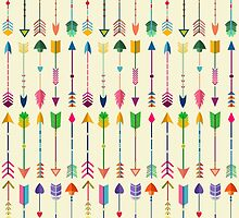 Colorful Tribal Arrows Pattern with Yellow Background by kennasato